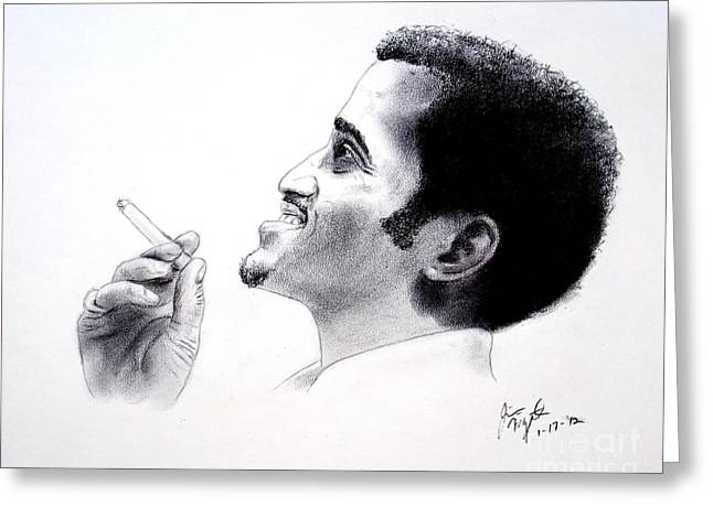 African-american Drawings Greeting Cards - Sammy Davis Jr Greeting Card by Jim Fitzpatrick