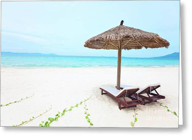 Chaise Photographs Greeting Cards - Sandy tropical beach Greeting Card by MotHaiBaPhoto Prints