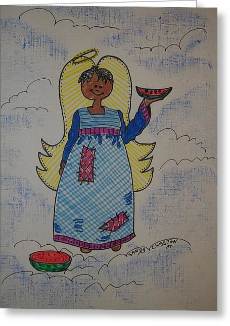 Watermelon Mixed Media Greeting Cards - Sandys Angel Greeting Card by Sandra Clayton