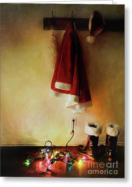 Santa Costume Hanging On Coat Hook /digital Painting  Greeting Card by Sandra Cunningham