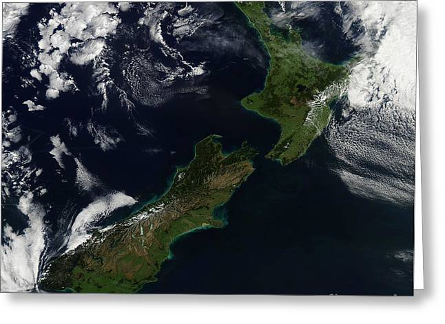 Land Feature Greeting Cards - Satellite View Of New Zealand Greeting Card by Stocktrek Images