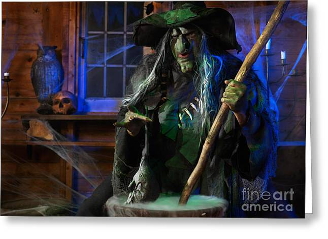 Devilish Greeting Cards - Scary Old Witch with a Cauldron Greeting Card by Oleksiy Maksymenko