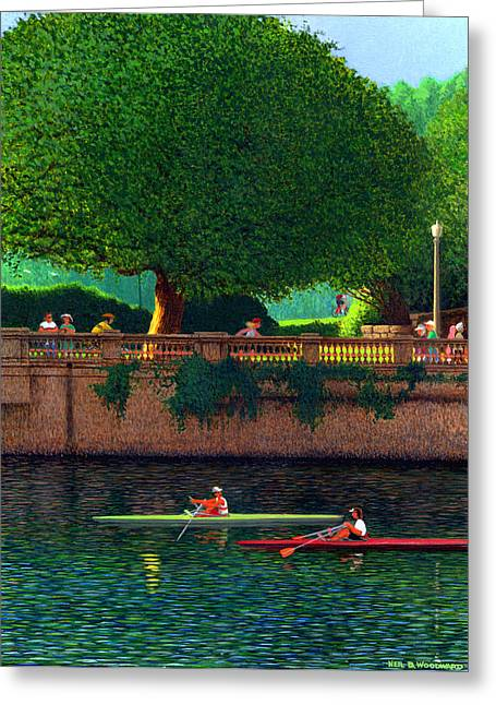 North Vancouver Paintings Greeting Cards - Scullers at Coal Harbour Greeting Card by Neil Woodward