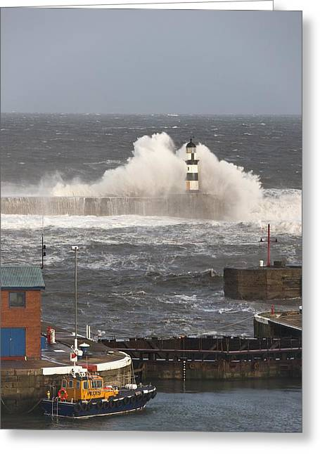 Seaham, Teesside, England Waves Greeting Card by John Short