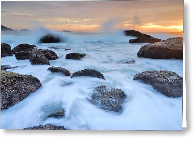 Seascape Greeting Card by Teerapat Pattanasoponpong