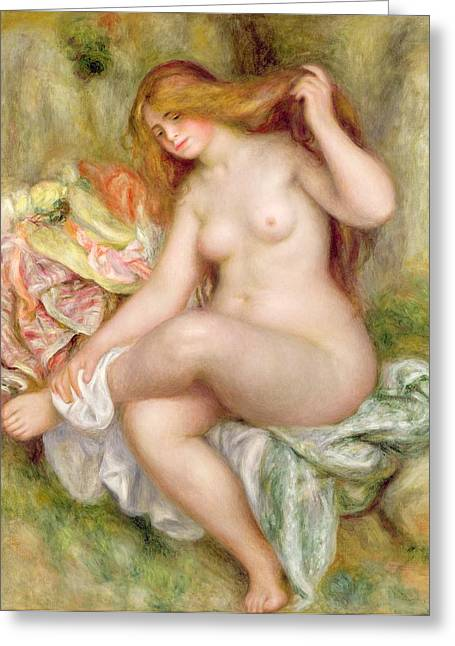 Naked Greeting Cards - Seated Bather Greeting Card by Pierre Auguste Renoir