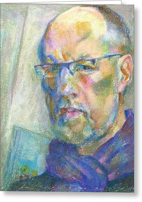 Self Portrait Pastels Greeting Cards - Self-portrait Greeting Card by Leonid Petrushin