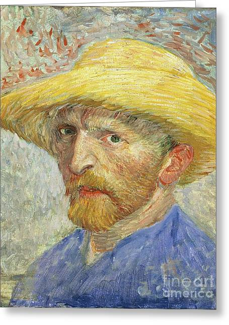 Anxieties Greeting Cards - Self Portrait Greeting Card by Vincent van Gogh
