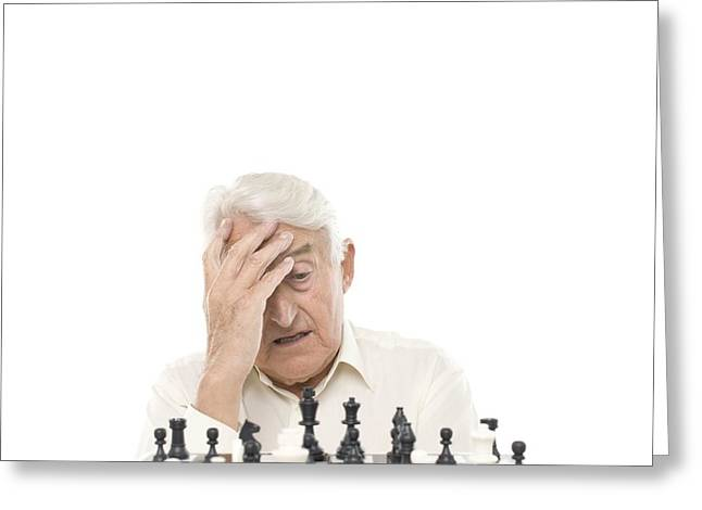 Gray Hair Greeting Cards - Senior Man Playing Chess Greeting Card by