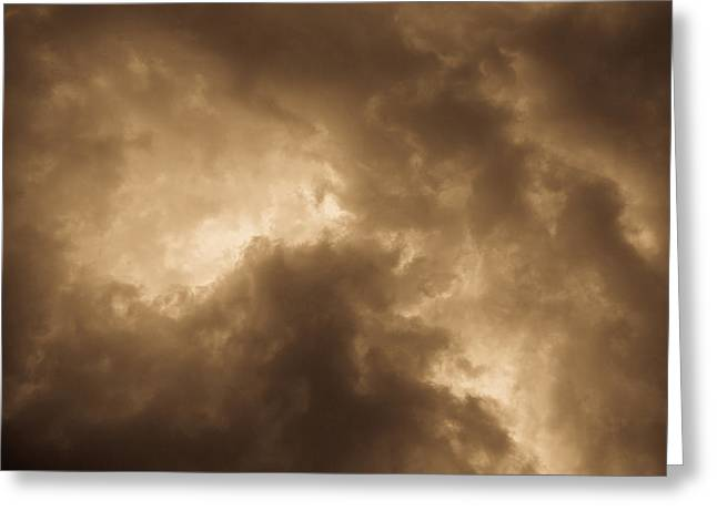 Summer Storm Greeting Cards - Sepia Clouds Greeting Card by David Pyatt
