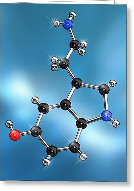 Molecular Model Greeting Cards - Serotonin Neurotransmitter Molecule Greeting Card by Miriam Maslo