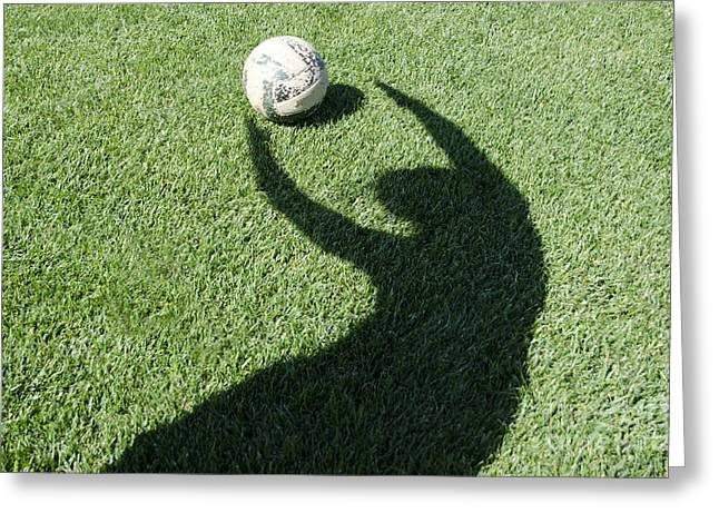 Goalkeeper Greeting Cards - Shadow playing football Greeting Card by Mats Silvan