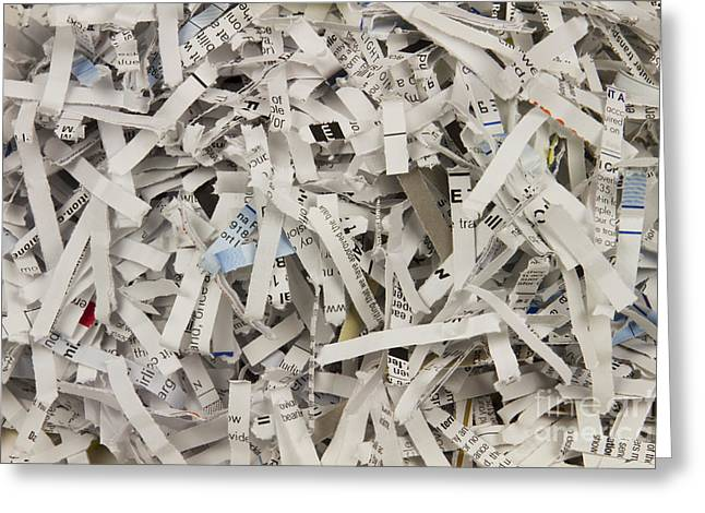 Forensic Greeting Cards - Shredded Paper Greeting Card by Blink Images