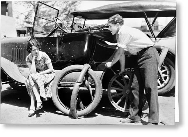 Gaynor Photographs Greeting Cards - Silent Film: Automobiles Greeting Card by Granger