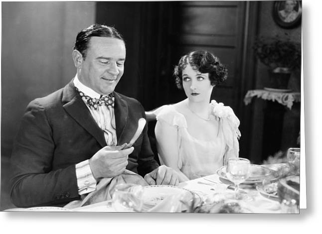 Bowtie Greeting Cards - Silent Film: Restaurants Greeting Card by Granger