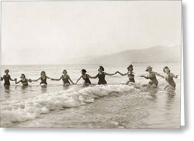 Bathing Suit Greeting Cards - Silent Film Still: Bathers Greeting Card by Granger