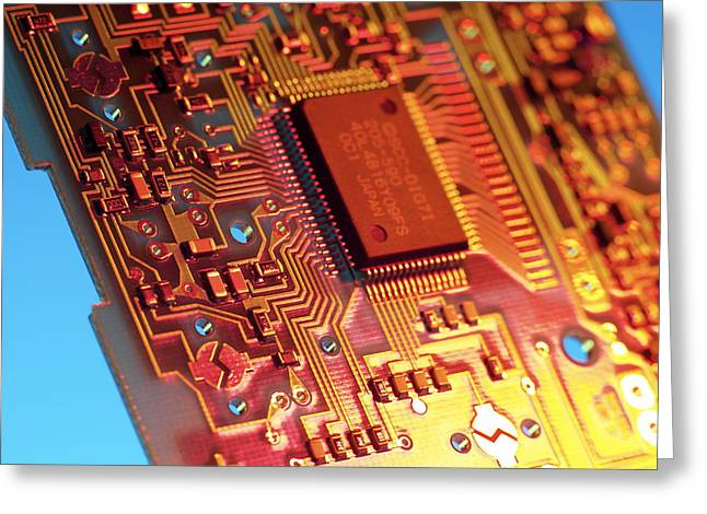 Processor Greeting Cards - Silicon Chip Greeting Card by Tek Image
