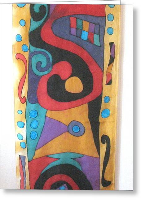 Abstract Design Tapestries - Textiles Greeting Cards - Silk Banner Greeting Card by Yvonne Feavearyear