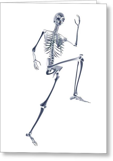 Skeleton Running Greeting Card by Pasieka