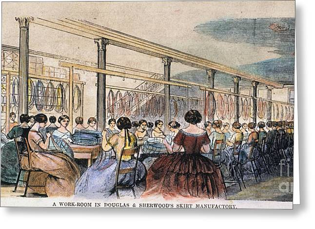 Douglass Greeting Cards - Skirt Factory, 1859 Greeting Card by Granger