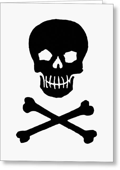Crossbones Greeting Cards - Skull And Crossbones Greeting Card by Granger