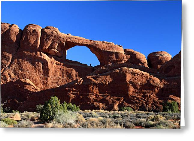 Skyline Arch Greeting Cards - Skyline arch in Arches National Park Greeting Card by Pierre Leclerc Photography