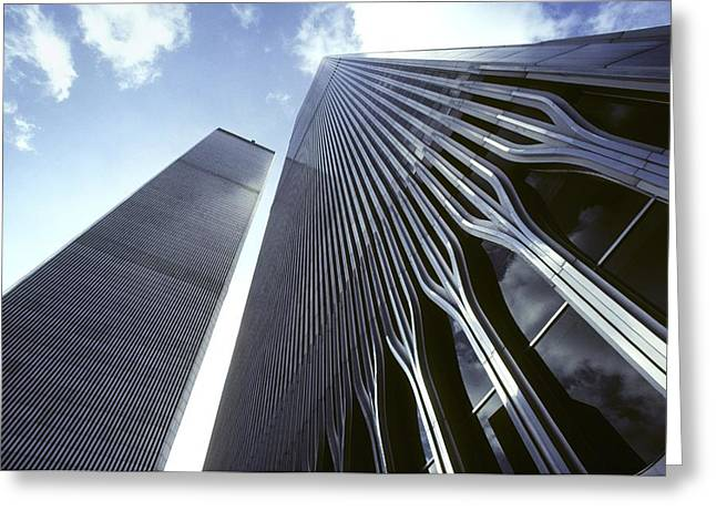 Art Of Building Greeting Cards - Skyward View Of The Twin Towers Greeting Card by Rex A. Stucky
