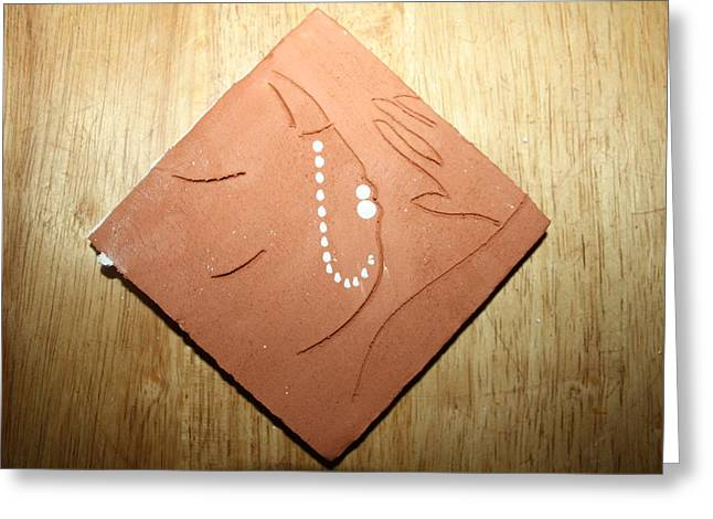 Sleep - Tile Greeting Card by Gloria Ssali