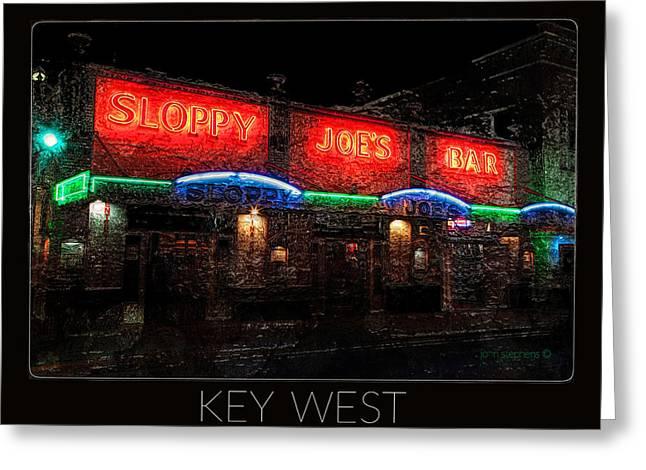Landmark Posters Greeting Cards - Sloppy Joes Bar After Dark Key West Greeting Card by John Stephens