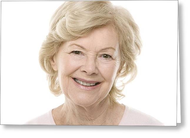Toothy Smile Greeting Cards - Smiling Senior Woman Greeting Card by