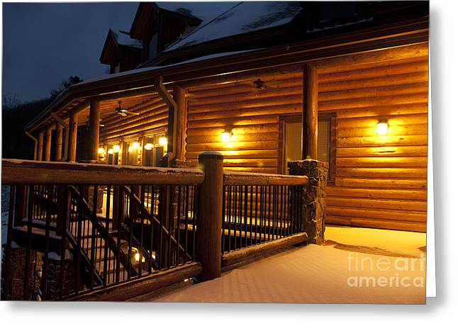 Snow Covered Countryside Hotel At Night Greeting Card by Will and Deni McIntyre