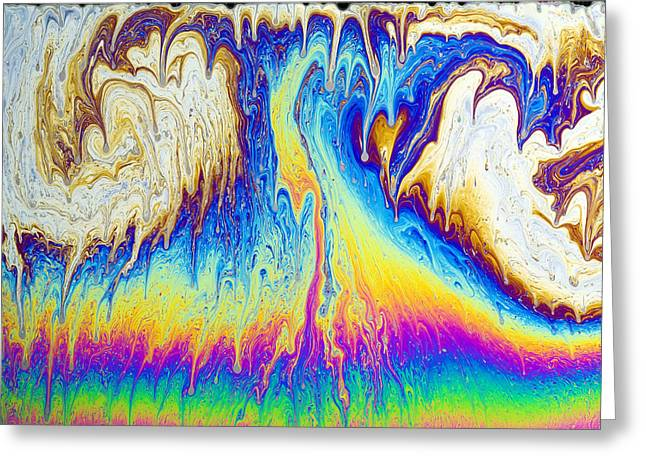 Thin Greeting Cards - Soap Film Patterns Greeting Card by Paul Rapson