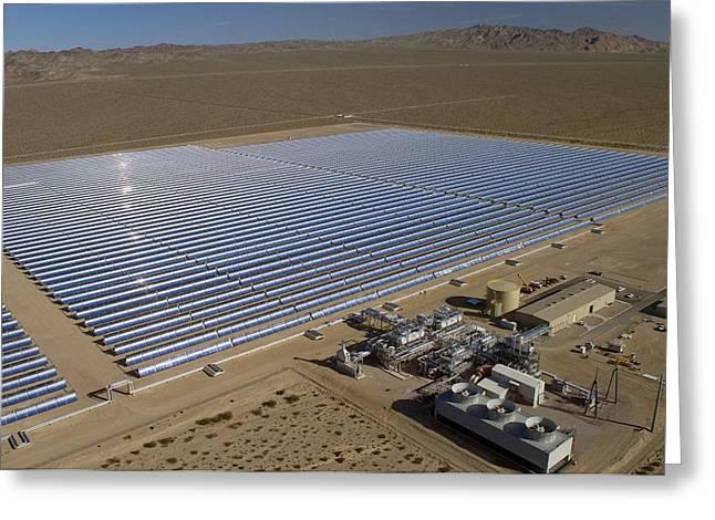Power Plants Greeting Cards - Solar Power Plant, Nevada, Usa Greeting Card by David Nunuk