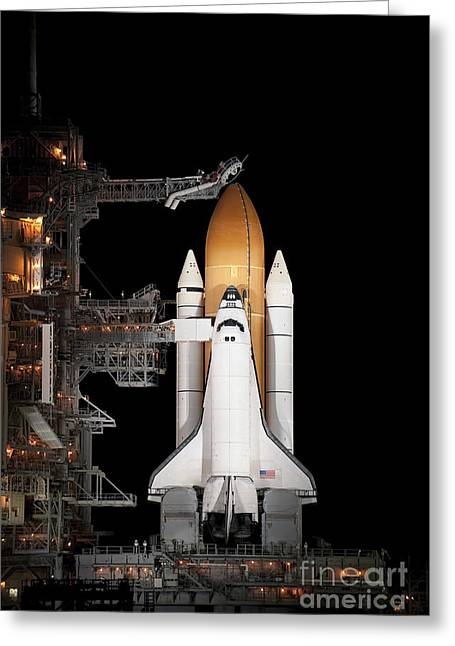 Atlantis Greeting Cards - Space Shuttle Atlantis Sits Ready Greeting Card by Stocktrek Images