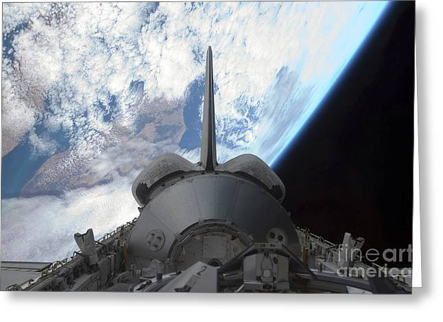 Mechanism Photographs Greeting Cards - Space Shuttle Endeavours Payload Bay Greeting Card by Stocktrek Images