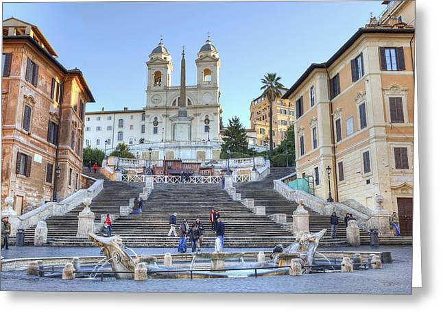 Staircase Greeting Cards - spanish steps in Rome Greeting Card by Joana Kruse