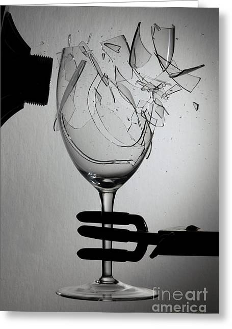 Acoustical Photographs Greeting Cards - Speaker Breaking A Glass With Sound Greeting Card by Ted Kinsman
