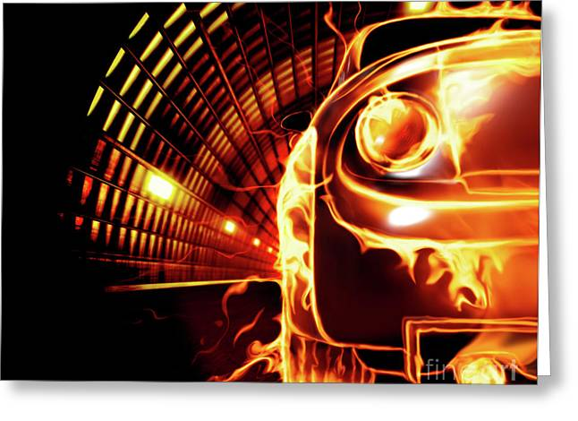 Tail-draggers Greeting Cards - Sports Car in Flames Greeting Card by Oleksiy Maksymenko