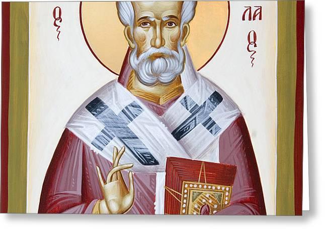 St Nicholas of Myra Greeting Card by Julia Bridget Hayes