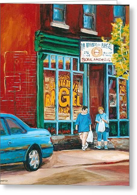 St. Viateur Bagel Shop Greeting Card by Carole Spandau