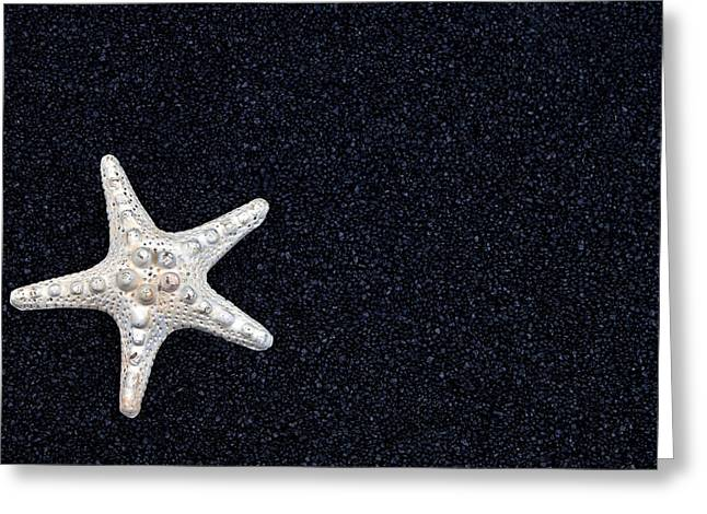 Contrast Greeting Cards - Starfish On Black Sand Greeting Card by Joana Kruse