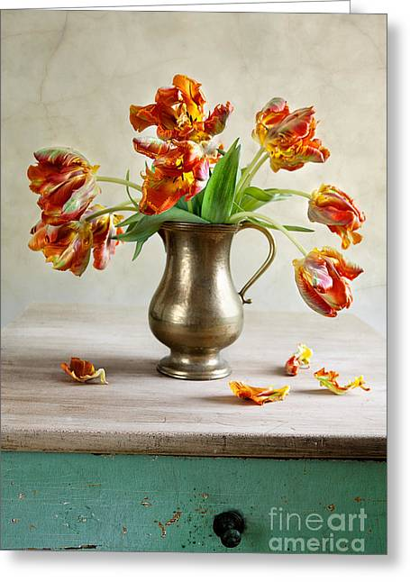 Blooms Mixed Media Greeting Cards - Still Life with Tulips Greeting Card by Nailia Schwarz