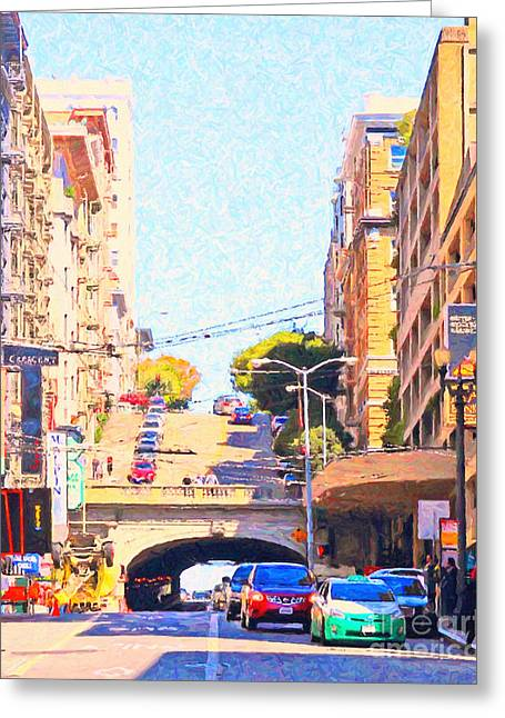 Sutter Street Greeting Cards - Stockton Street Tunnel in San Francisco Greeting Card by Wingsdomain Art and Photography