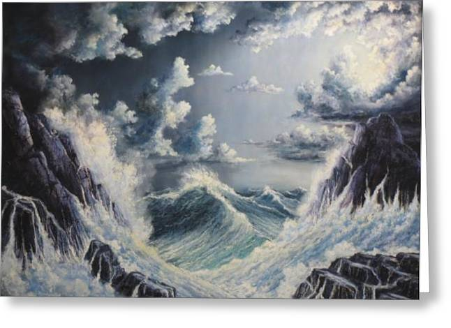 Sunset Seascape Reliefs Greeting Cards - Stormy Sea Greeting Card by John Cocoris