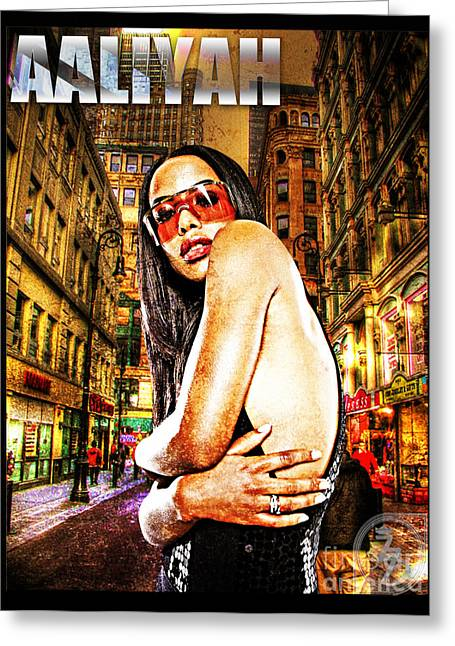 Rnb Greeting Cards - Street Phenomenon Aaliyah Greeting Card by The DigArtisT