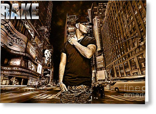 Drizzy Greeting Cards - Street Phenomenon Drake Greeting Card by The DigArtisT