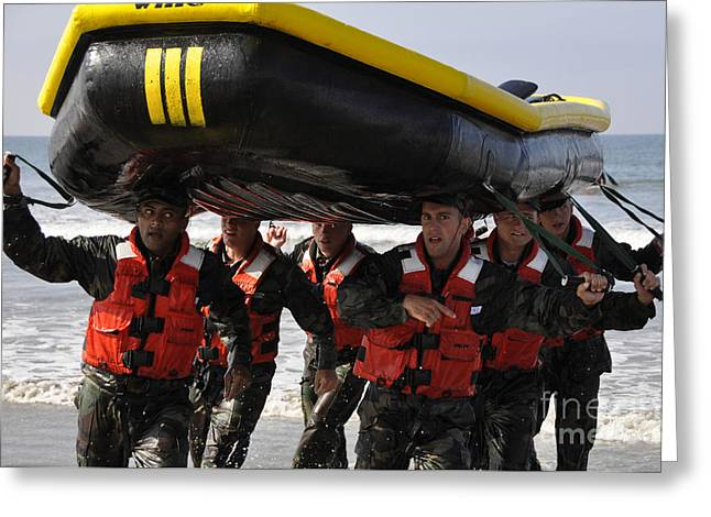Inflatable Boats Greeting Cards - Students In Basic Underwater Greeting Card by Stocktrek Images