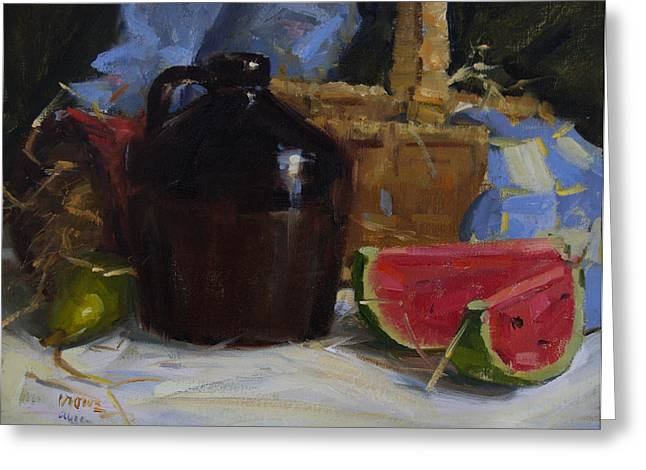 Still Life With Watermelon. Greeting Cards - Summer Greeting Card by Judy Crowe