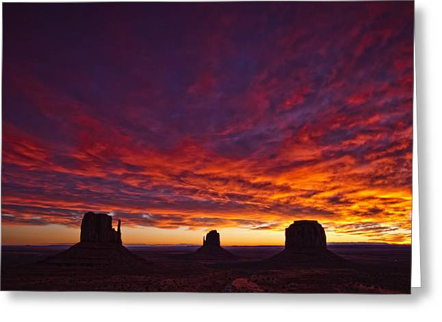 Colorful Cloud Formations Greeting Cards - Sunrise Over Monument Valley, Arizona Greeting Card by Robert Postma