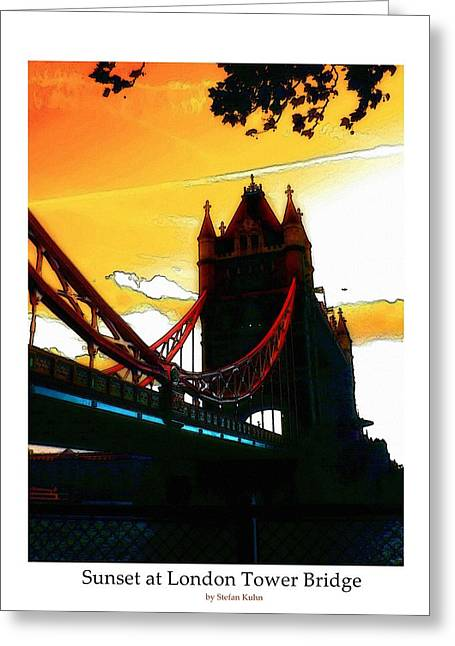 Mystic Art Greeting Cards - Sunset at Tower Brigde Greeting Card by Stefan Kuhn
